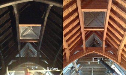 Sand Blasting Oak Roof Joists