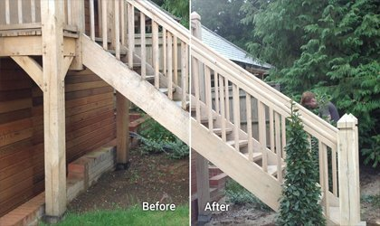 Sand Blasting Wooden Stairs and Decking