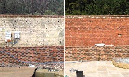 Soda Blasting Brick Wall